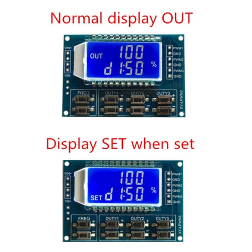 3 Channel Signal Generator PWM Pulse Frequency Duty Cycle Adjustable Module LCD